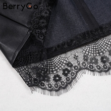 Parperbag lace bottom Leather skirt women Belt high waist short skirt 2018 pocket short skirts female