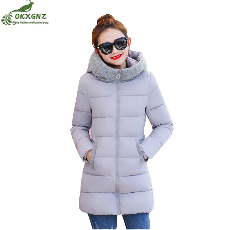 Autumn winter women Down cotton Outerwear medium long thickening hooded jacket coat women large size Slim warm coat tide OKXGNZ