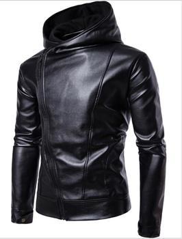 Zhuofei pu 가짜 가죽 자켓 남자 바이커 자켓 가죽 자켓 남성 오토바이 자켓 가죽 후드 블랙 M-4XL