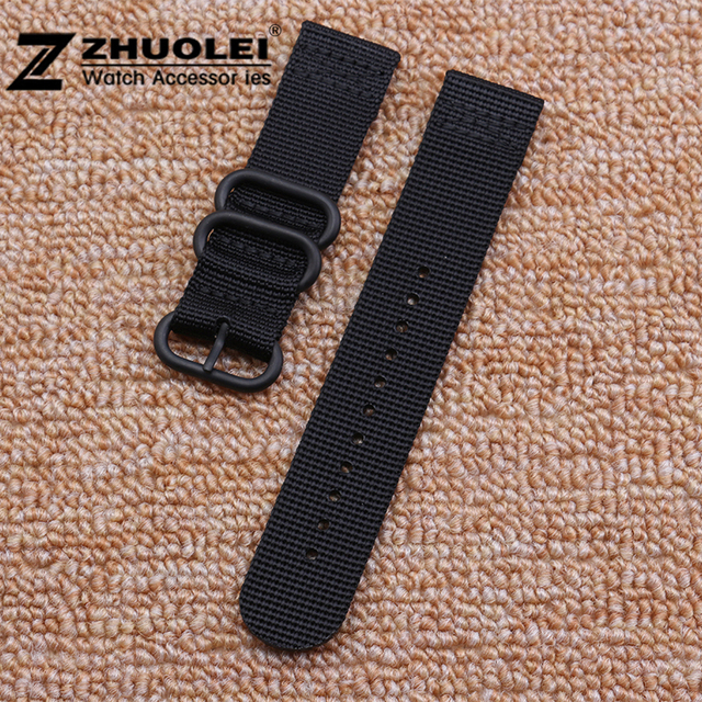 18mm 19mm 21mm 22mm 23mm 24mm 26mm Black ZULU Nylon 3 rings Watch Strap and Buck