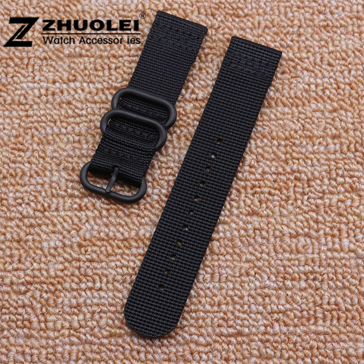 22mm 24mm Black ZULU Nylon 3 rings Watch Strap and Buckle Heavy Duty Military Strap nato watchband free shipping 1pcs heavy duty nylon straps 20mm 22mm 24mm nylon watch band nato strap zulu strap watch strap silver ring buckle