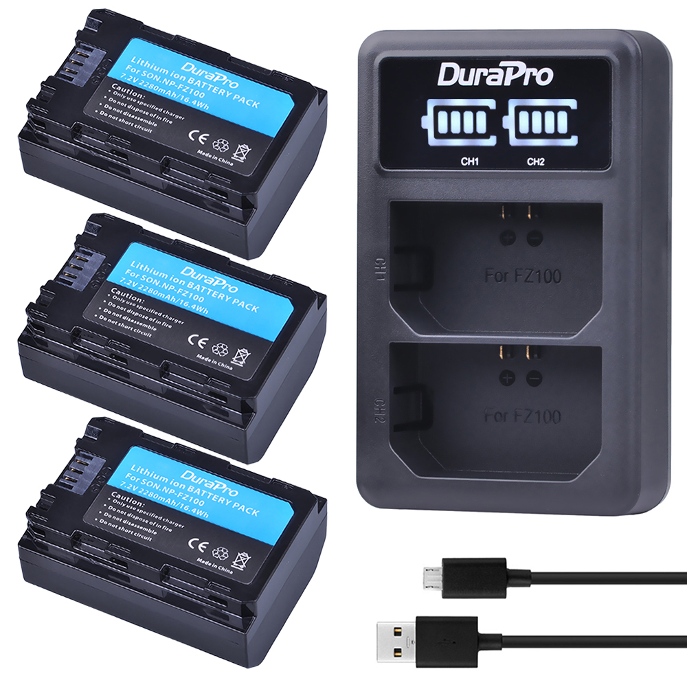 3PC 2280mAH NP FZ100 Battery + LED Charger for Sony NP-FZ100 BC-QZ1 Alpha 9, A7RIII, ILCE-7RM3 for Sony A9, A9R, Alpha 9s Camera np f960 f970 6600mah battery for np f930 f950 f330 f550 f570 f750 f770 sony camera