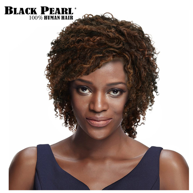 Black Pearl Short Curly Brown Human Hair Wigs For Women Remy Afro