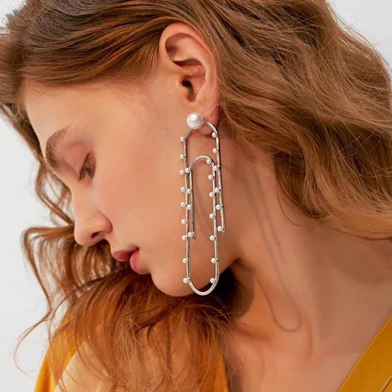 Novelty Geometric Paper Clip Style Charms Stud Earrings for Women Fashion  Jewelry Hot Sale Boutique Collection 9d803246577f