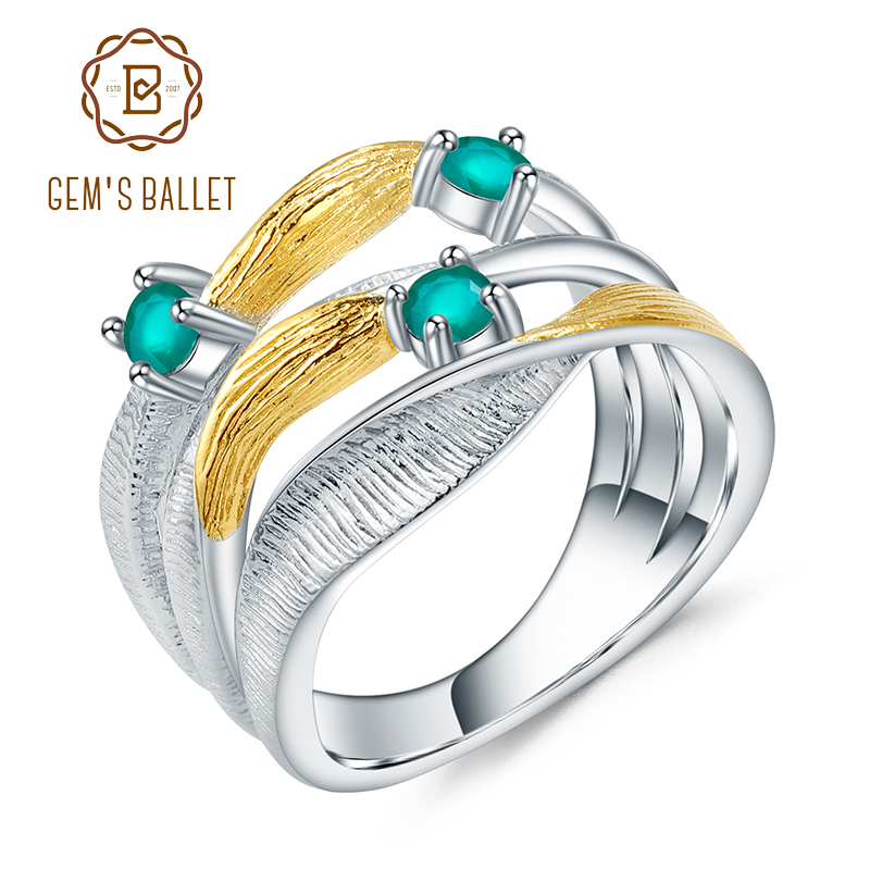 GEM'S BALLET 925 Sterling Silver Handmade Band Twist Rings For Women 0.47Ct Natural Green Agate Gemstones Ring Fine Jewelry