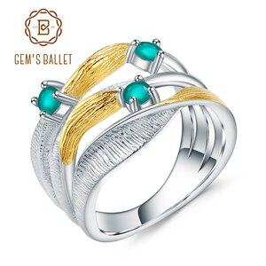Image 1 - Gemmes BALLET en argent Sterling 925, anneaux torsadés pour femmes, bijoux fins, bandes faites à la main, 0.47ct, pierres précieuses en Agate verte naturelle