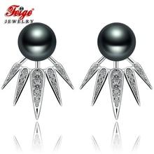 New design Natural Pearl Stud Earring for Women 8-9mm Black Freshwater Pearl Earrings 925 Sterling Silver Fine Jewelry Earrings