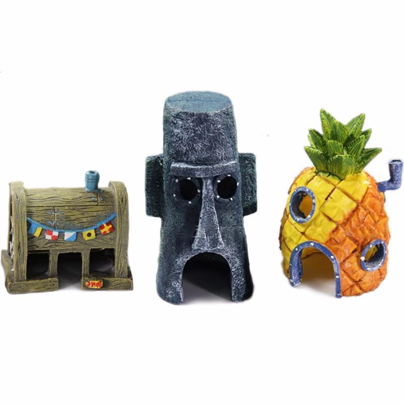 Hot spongebob house aquarium decoration set pineapple for Aquarium decoration set