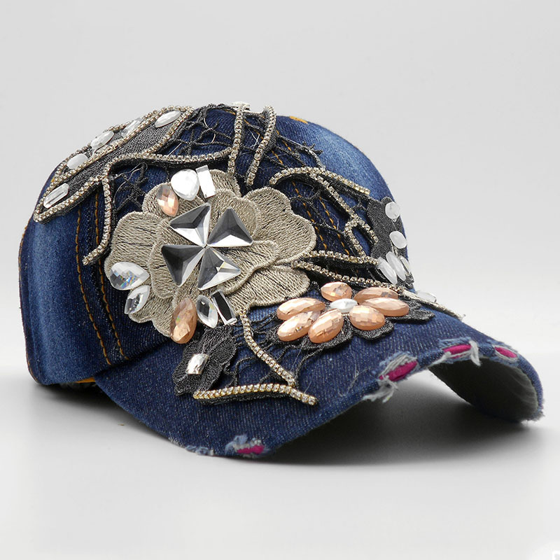 Vintage Rhinestones Woman Cowboy Baseball Cap Flower Pattern Female Glass Diamonds Hip Hop Hat