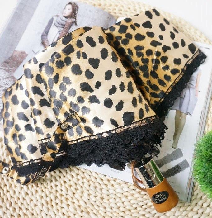 Silke Leopard Snörning 3-faldig Automatisk Paraply Regn Sol Kvinnor - Hushållsvaror