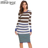 Meaneor 2017 Striped Knit Sweater Dress Women Tops Casual Long Sleeve O Neck Pullover Knee Length