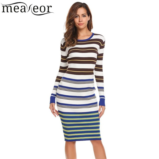 6d019bfffb58 Meaneor 2017 Striped Knit Sweater Dress Women Tops Casual Long Sleeve O  Neck Pullover Knee Length Sheath Roupas Femininas