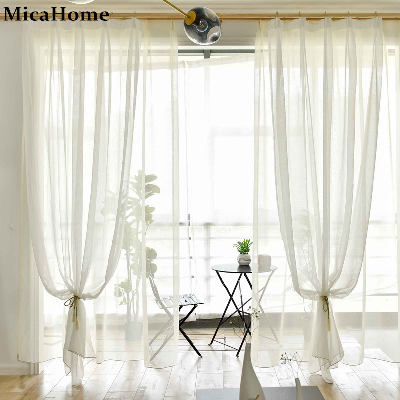Custom Curtains Tulle Finished White Gray Yellow Solid Gauze Thin Wire  Netting Fabric Balcony Living Room