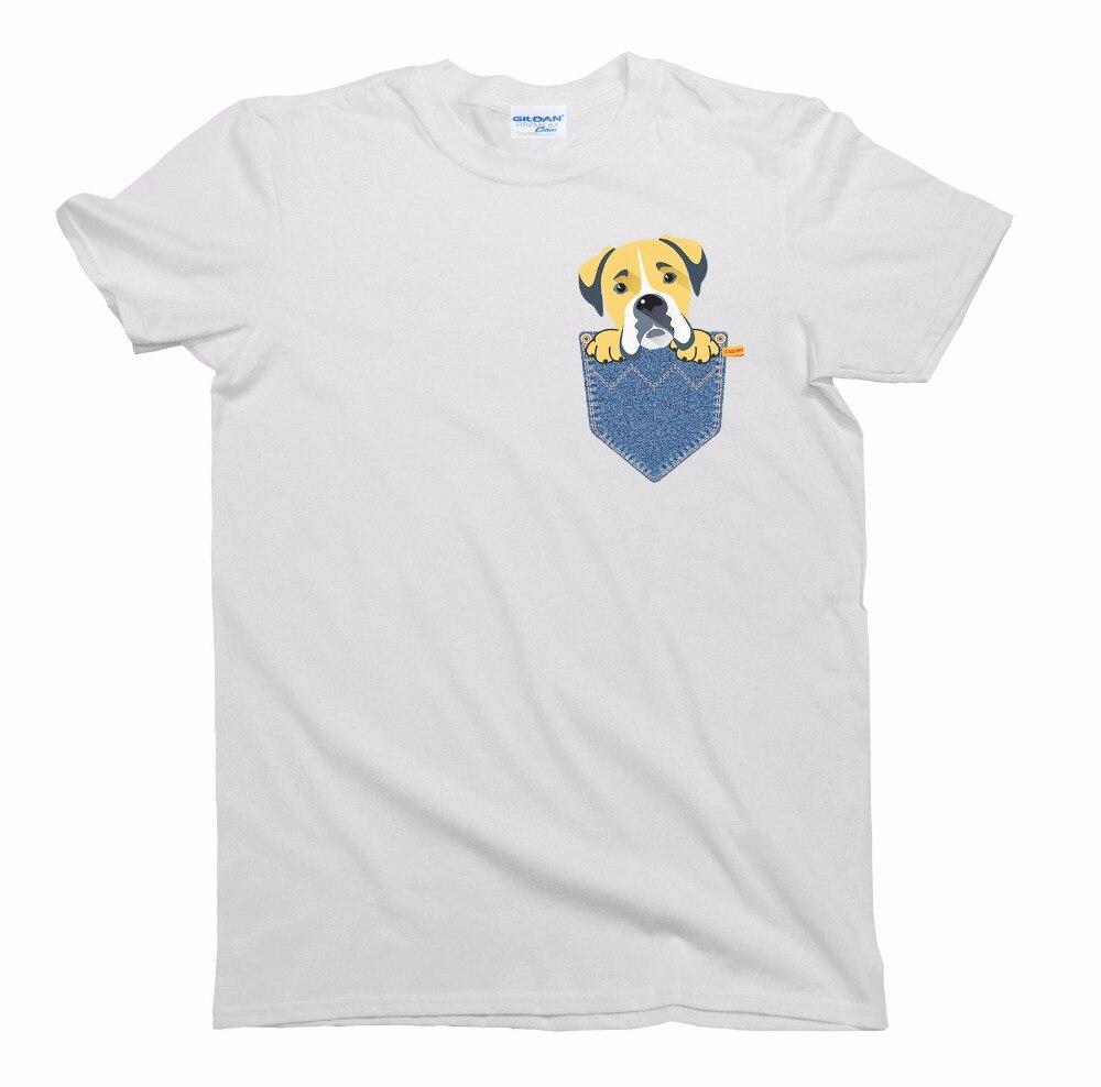 2018 Designs Mens T Shirt Fashion Classic Boxer Dog Pocket Dog Birthday Gift T-Shirt Mens Ladies Unisex Fit cheap Tee shirt