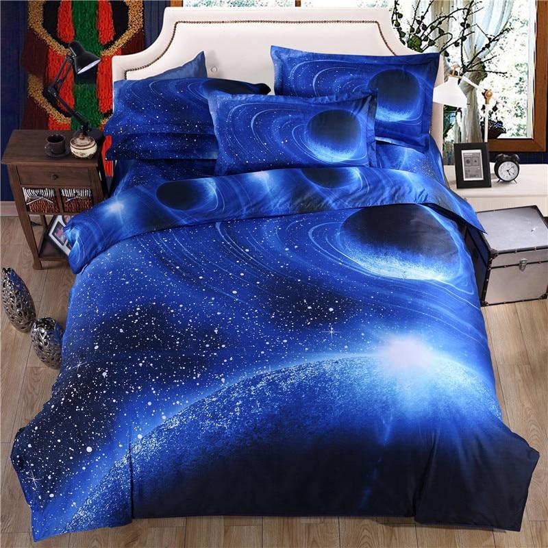 3D Blue Sky Bed Sheet Set Pillowcase Planet Polyester Cotton Duvet Cover Set Bed Linen Galaxy