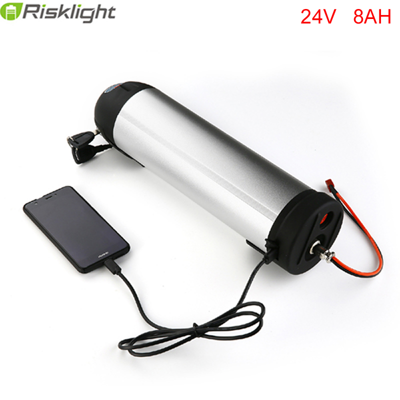 24V 8AH E bike Battery 24V 8AH Li ion Battery Pack with Water Bottle Case and USB port