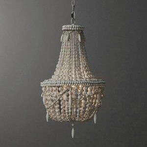 Image 1 - アンティークホワイト木製ビーズシャンデリア照明ヴィンテージ黒キッチンシャンデリアレトロ木製照明器具