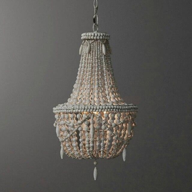 アンティークホワイト木製ビーズシャンデリア照明ヴィンテージ黒キッチンシャンデリアレトロ木製照明器具