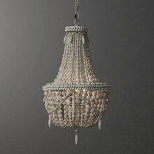 Antique blanc bois perle lustre éclairage vintage noir cuisine lustre rétro en bois luminaire