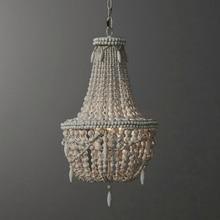 Candelabro de cuenta de madera blanca antiguo, candelabro de cocina negro vintage, accesorio de luz de madera retro