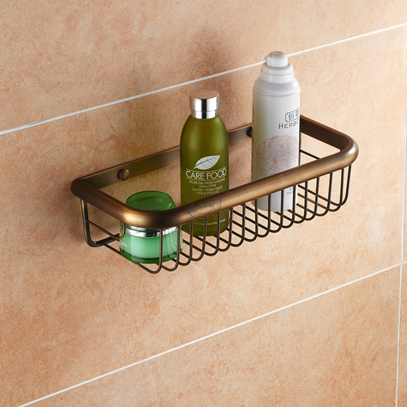 Shower Caddy Bathroom Shelf Storage Wall Bath Organizer Rack Holder Towel Rack Antique Brass Finished bracket wall towel rack towel rack solid wood bathroom toilet wall shelf rack antique industrial iron shelf