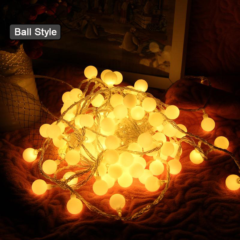 LED Ball String Lights For Bedroom gerlyanda Xas Garland Christmas lights Decoration Star light string Bulb Fairy Light Chain 20pcs bulb string light