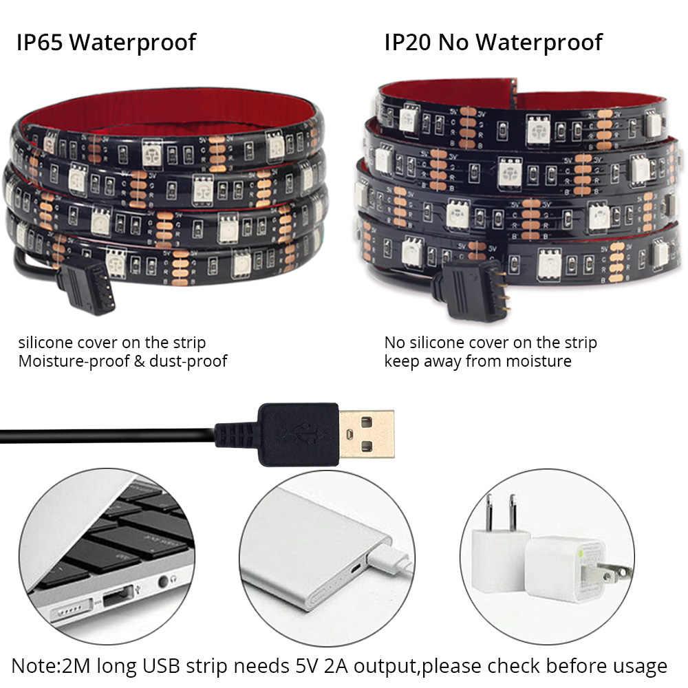 5V USB Светодиодные ленты 5050 RGB Светодиодные ленты светильник 5050 работы при прослушивании музыки по Bluetooth полосы IP65 Гибкая светодиодный лента ТВ фон светильник Инж
