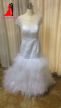 Gorgeous Beaded Mermaid font b Wedding b font Dresses 2017 Vestido De Noiva Sereia Sheer Back