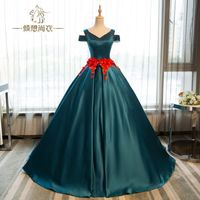 TaooZor High-end Elegant Atrovirens Satin Ball Gown Wedding Dresses Real Picture 2018 Classic Lace Appliques Robe De Mariage