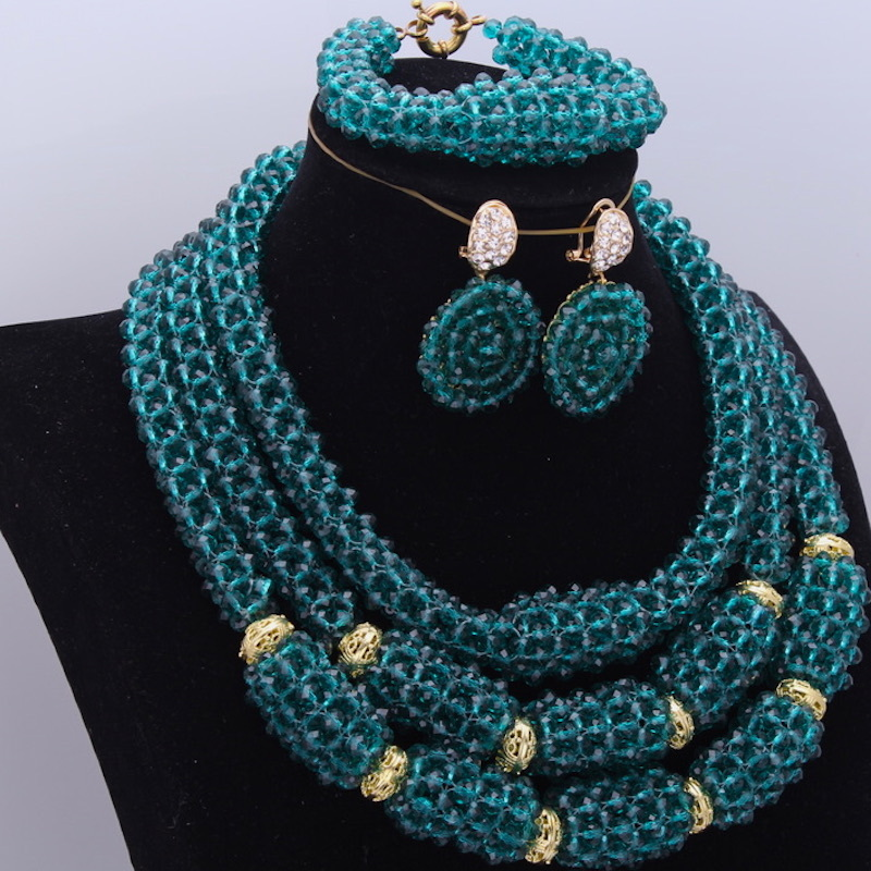 Wholesale Teal Green Weeding African Beads Jewelry Set 3