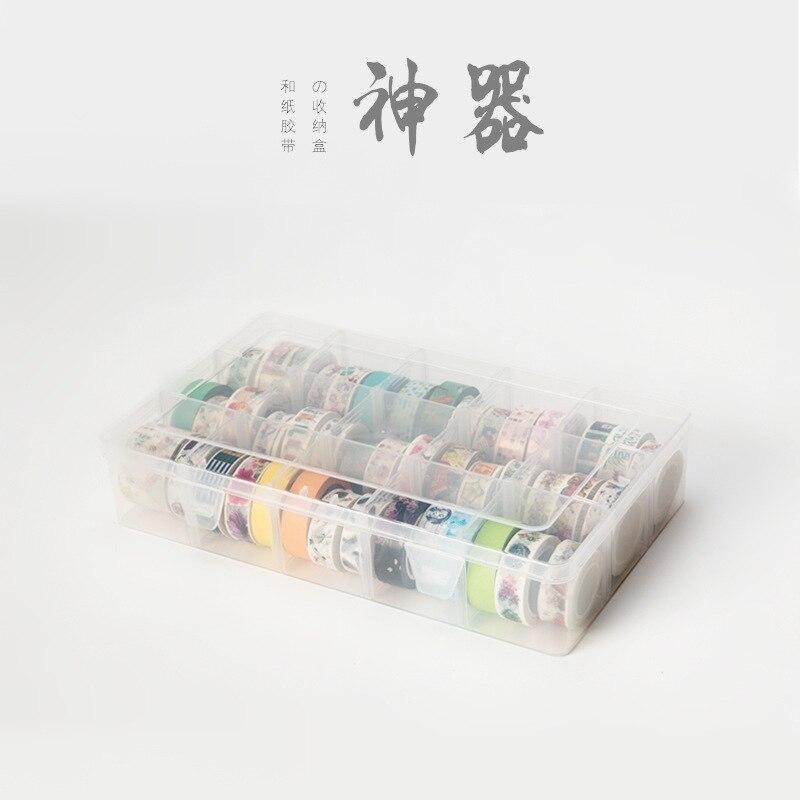 15 compartimentos claro artesanías organizador caja de almacenamiento para Washi cinta arte suministros y pegatina papelería