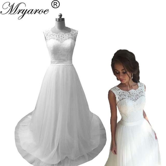Mryarce Wedding Dress 2018 Lace Illusion Neckline Sweetheart Tulle A ...