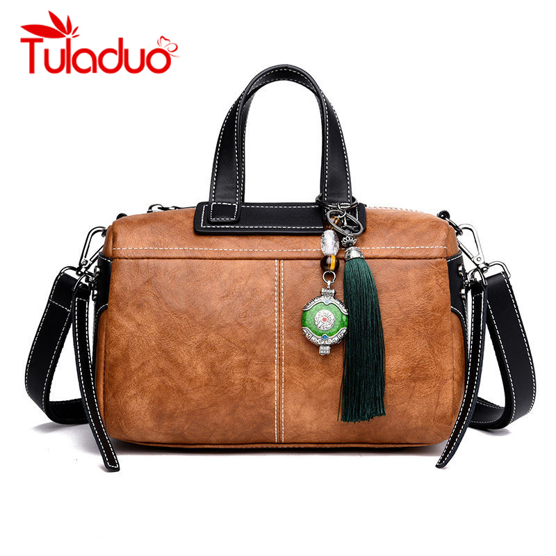 Tuladuo Luxury Handbags Women Bags Designer Vintage Jasper Handbag Tassel Messenger Bag Women Tote Bolsos Mujer Sac A Main Black
