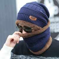 Vente chaude 2 pièces ski casquette et écharpe froid chaud en cuir hiver chapeau pour femmes hommes tricoté chapeau Bonnet chaud casquette Skullies bonnets