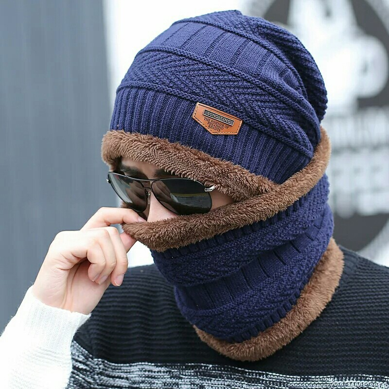 hot selling 2pcs ski cap and scarf cold warm leather winter hat for women men Knitted hat Bonnet Warm Cap Skullies Beanies