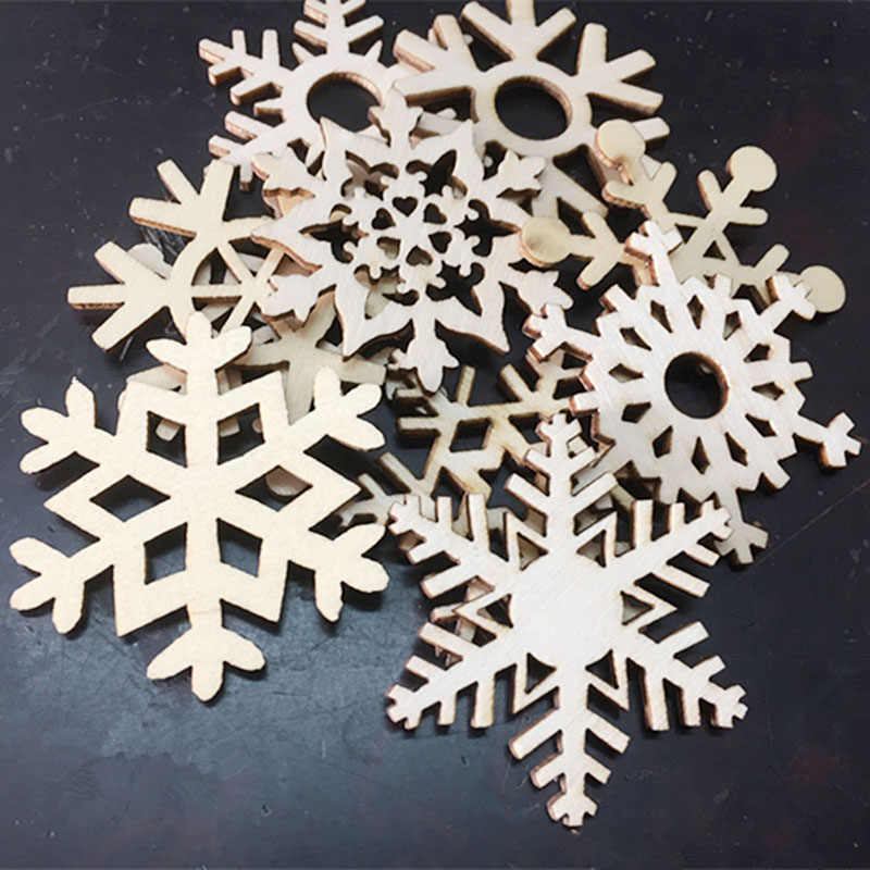10Pcs Wooden Snowflake Christmas Gift Tree Hanging Ornament New-Year Tree Decorations Home Christmas Hanging Ornaments