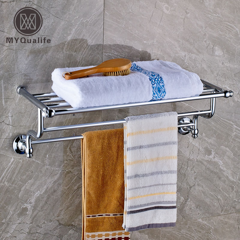 Polished Chrome Bath Towel Rack with Towel Bar Wall Mounted Brass Towel Shelf gold finish bath wall mounted storage shelf cosmetic rack with towel bar
