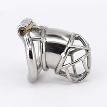 New Design Stainless Steel Male Cock Cage Chastity Device Sex Toy Penis Lock with Arc Base Activities Lock Ring