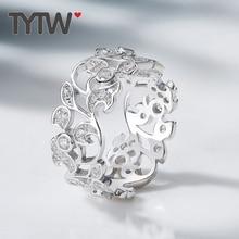 TYTW S925 Silber Silber Ring Jubiläum Engagement Hochzeit Mode Elegante Blume Runde AAA Kubikzircon Frauen Dame Ringe