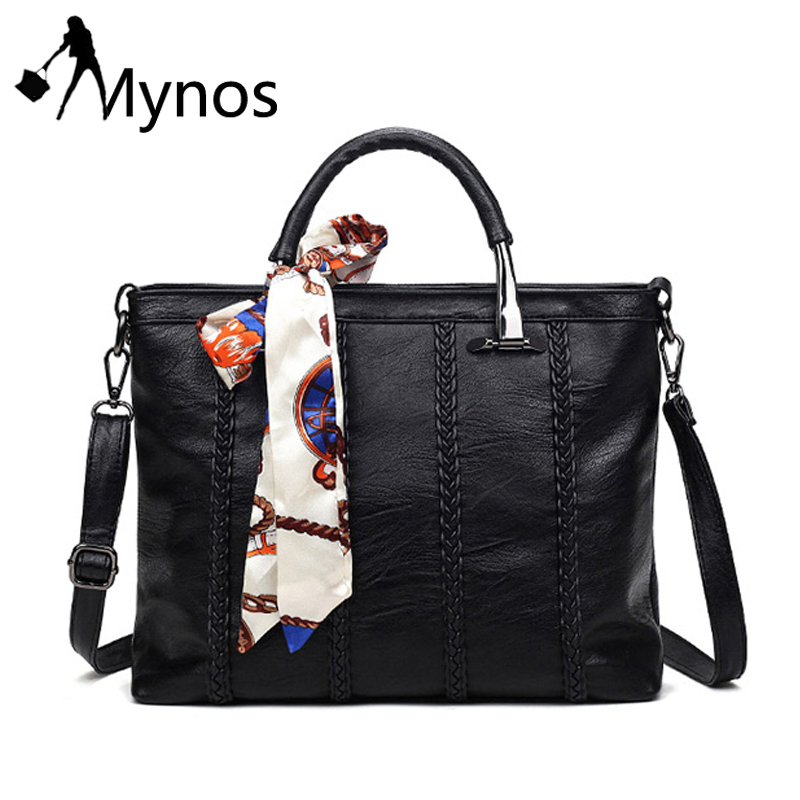 ФОТО Mynos PU Leather Bags for Women Ladies Messenger Bag Womens Black Top-handle Bags Female Sheepskin Tote bags Sac A Main Bolsos