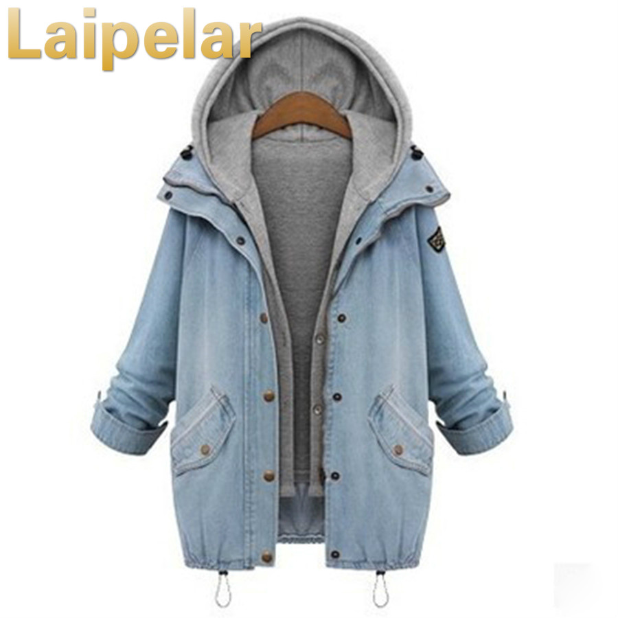 Autumn Winter Women Two Piece Suit Fashion Casual Women   Basic     Jacket   And Coats Denim Jeans Large Sized Women   Basic   Coats M-Xxxxl