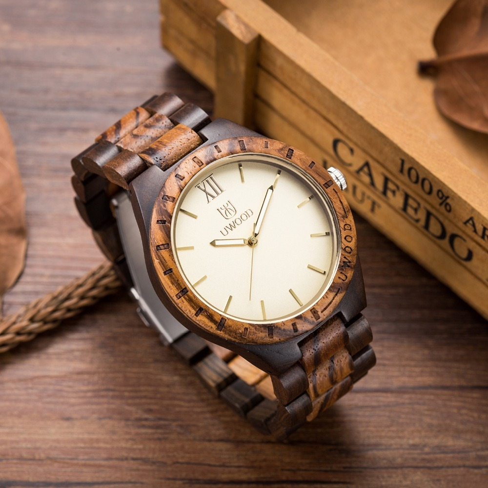 купить NEW UWOOD Handmade Black Men's Wooden Watches Natural Sandal Wood Dress Quartz Wristwatch Unisex Rough Watch For Christmas Gifts онлайн