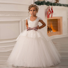 Weddings Events - Wedding Party Dress - Flower Girl Dress 2017 Real Lovely White Ivory Cap Sleeve Bow Elegant Birthday Ball Gown Communion Party Dresses