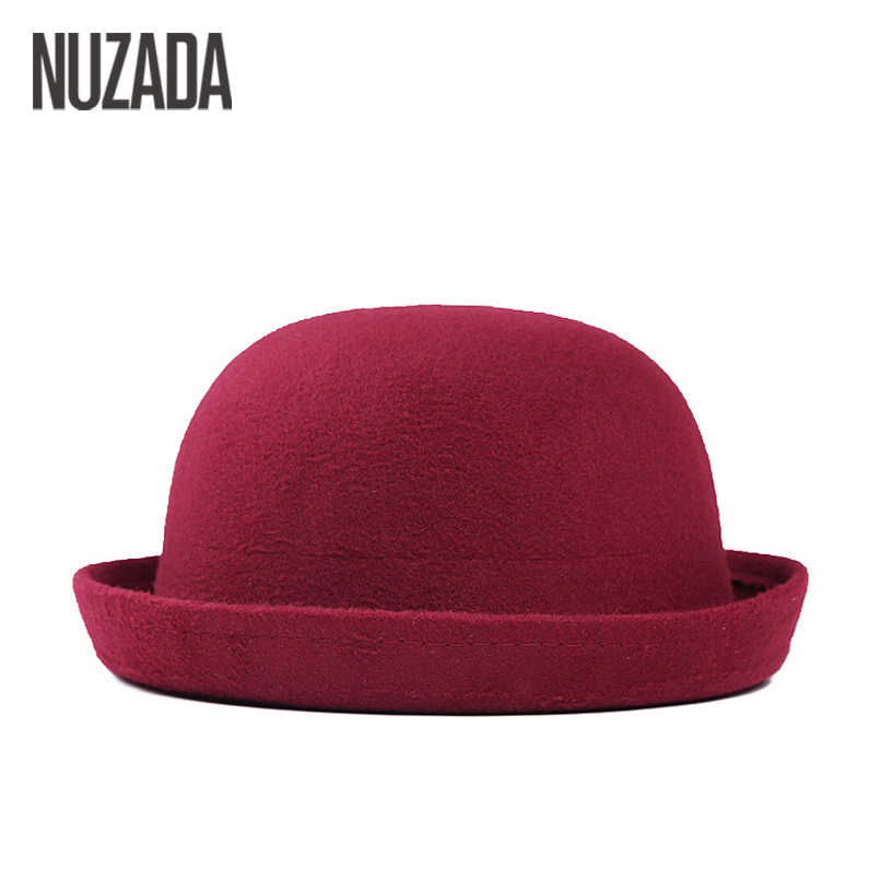 Blagovne znamke NUZADA Zimske jeseni Ženske dame Fedoras Top Jazz Hat Moda zgoščevalne klobuke iz kvalitetnega poliestra bombažne okrogle kape