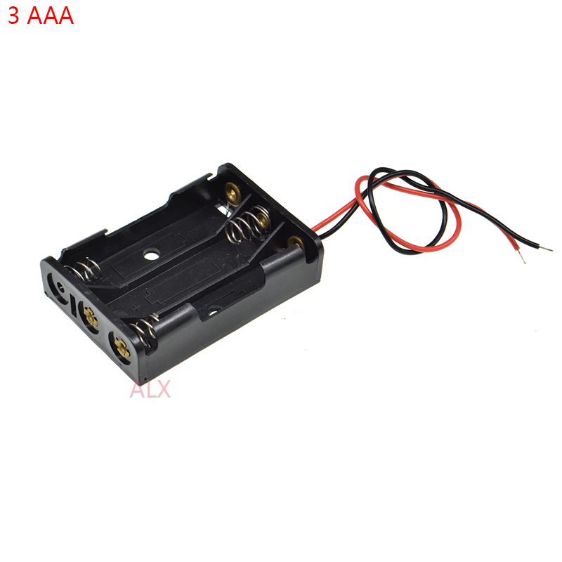 5PCS Plastic Battery Case Storage Box with Wire Leads for 3 X AA 4.5V US