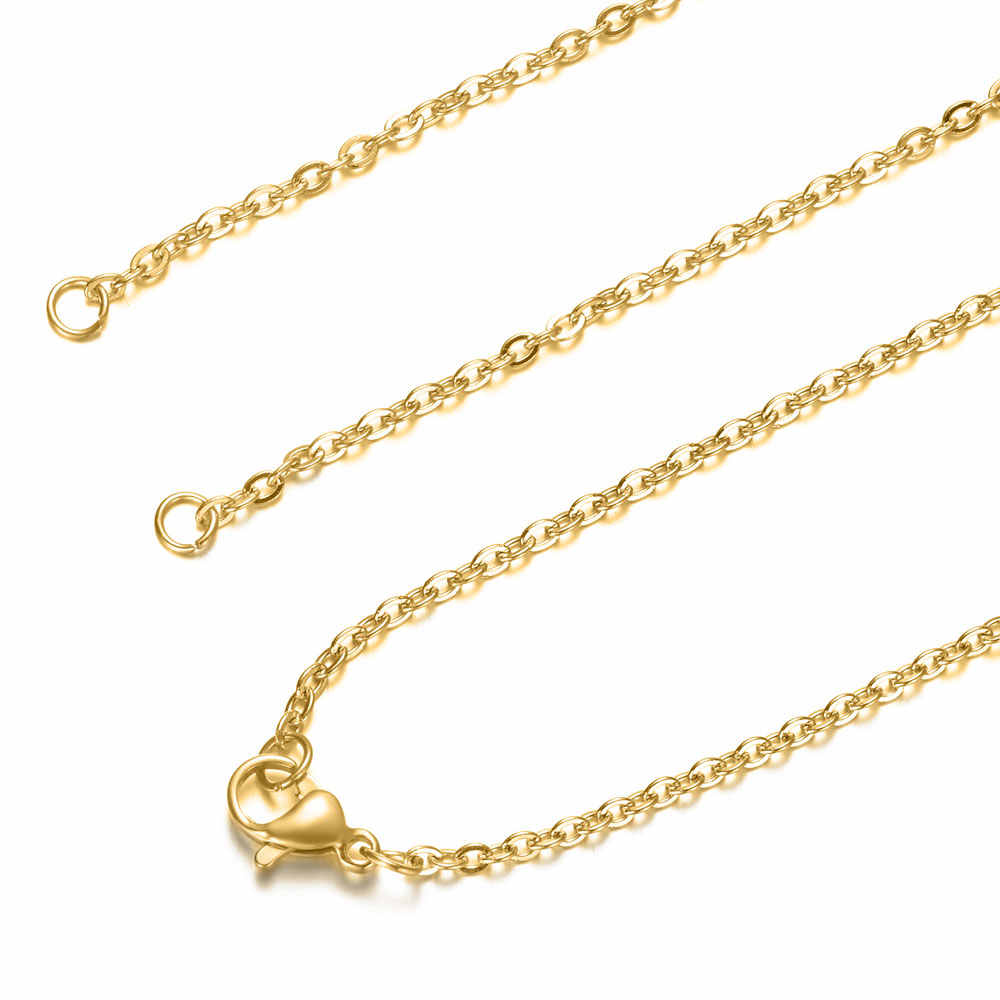 5pcs/lot 2mm width 40-70cm DIY Cross Chain Necklaces Wholesale 100% Stainless Steel Steel Gold Color Necklaces