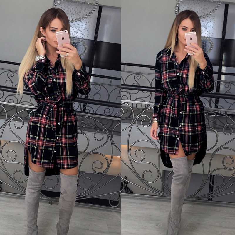 2017 dress kobiety nieregularne plaid shirt sukienki sexy długim rękawem turn down collar urząd casual dress lj5932c 2