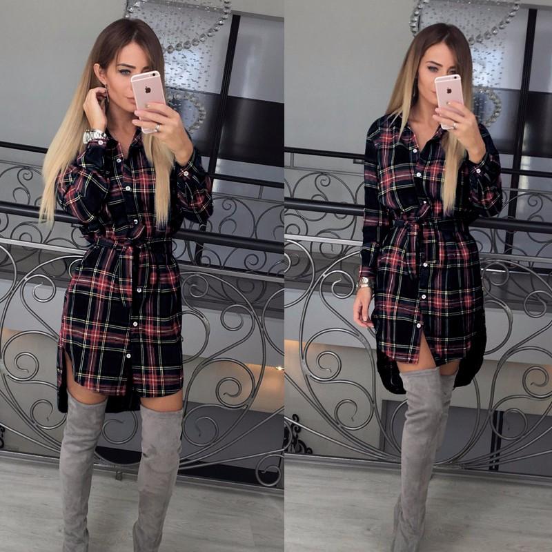 Ruuduline särk-kleit naistele