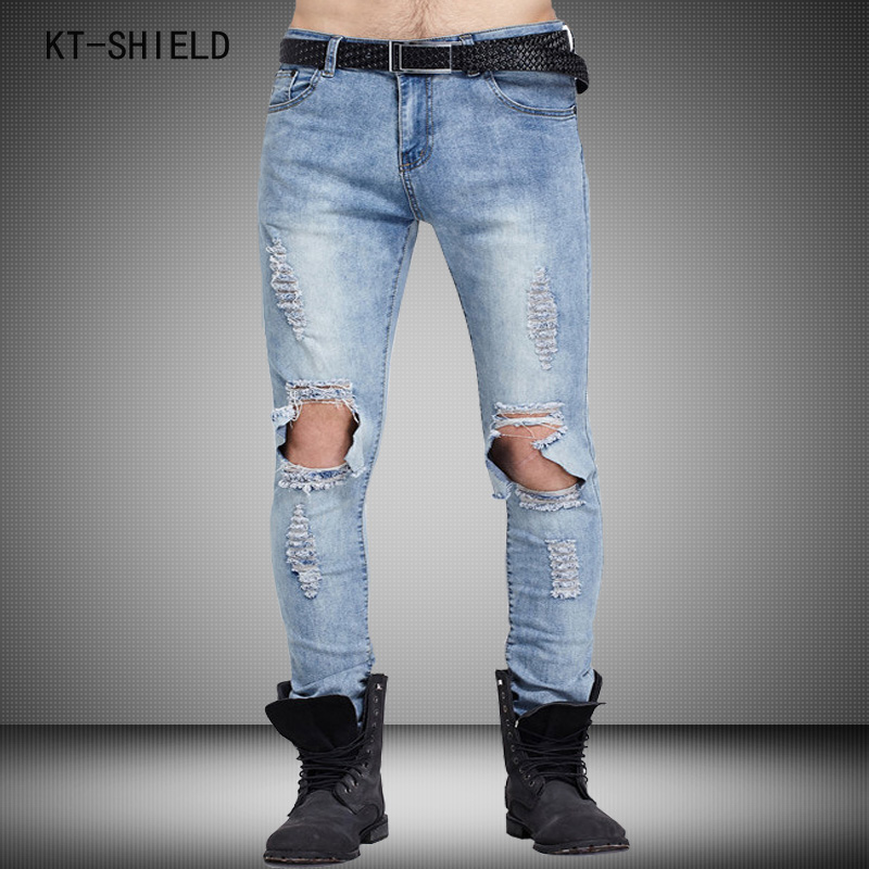 Brand Mens biker jeans Straight Ripped Jeans For Men High Quality Denim overalls Men Fashion Designer Pants Jean Homme Plus size plus size ripped straight leg biker jeans