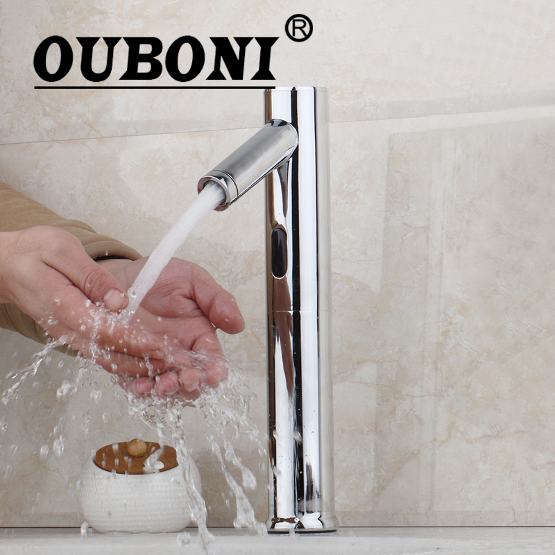 OUBONI Automatic Hands Touch Bathroom Faucet Free Sensor Modern Design Faucet Bathroom Sink Tap JN89010 ouboni modern rainfall